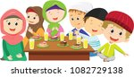 happy muslim boys and girls... | Shutterstock .eps vector #1082729138