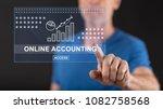 man touching an online... | Shutterstock . vector #1082758568