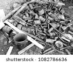 stack of old firewood | Shutterstock . vector #1082786636