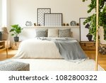 warm bedroom interior with a... | Shutterstock . vector #1082800322