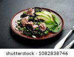 pasta with cuttlefish ink ... | Shutterstock . vector #1082838746