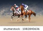 two racing horses neck to neck... | Shutterstock . vector #1082840636