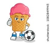 ice cream playing football... | Shutterstock .eps vector #1082849945