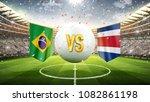 Stock photo brazil vs costa rica soccer concept white soccer ball with the flag in the stadium d 1082861198