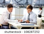 senior businessman helping his... | Shutterstock . vector #108287252