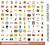 100 hangout firm icons set in... | Shutterstock . vector #1082874335