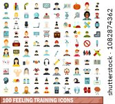 100 feeling training icons set... | Shutterstock . vector #1082874362