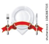 empty plate with ribbon  spoon  ... | Shutterstock .eps vector #1082887535