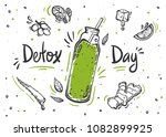 detox day poster in doodle... | Shutterstock .eps vector #1082899925