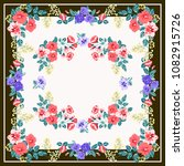 scarf floral print. russian... | Shutterstock . vector #1082915726
