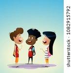 three multiracial kids discuss... | Shutterstock .eps vector #1082915792