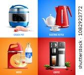 household kitchen appliances...   Shutterstock .eps vector #1082923772