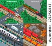passenger and freight trains ... | Shutterstock .eps vector #1082923865