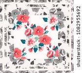 unusual scarf floral print.... | Shutterstock . vector #1082955692