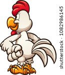 cartoon chicken looking at... | Shutterstock .eps vector #1082986145