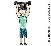 doodle man with sport clothes... | Shutterstock .eps vector #1083002525