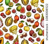 exotic fruit seamless pattern... | Shutterstock .eps vector #1083008522