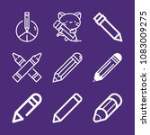 set of 9 draw outline icons... | Shutterstock .eps vector #1083009275