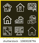 set of 9 house outline icons... | Shutterstock .eps vector #1083028796