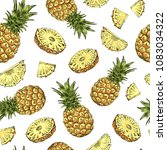 pineapple seamless pattern.... | Shutterstock .eps vector #1083034322