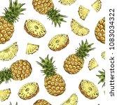 pineapple seamless pattern.... | Shutterstock .eps vector #1083034322