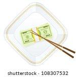 plate  chopsticks and dollar...   Shutterstock .eps vector #108307532