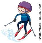 A Boy Skiing On White...