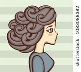 profile of the cute girl with... | Shutterstock .eps vector #1083088382
