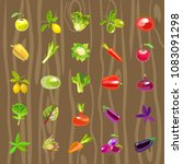 sets of vegetables and fruits.... | Shutterstock .eps vector #1083091298