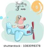 baby piggy pilot | Shutterstock .eps vector #1083098378