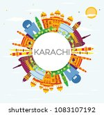 karachi skyline with color... | Shutterstock . vector #1083107192