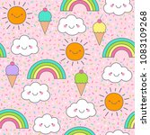 cute cloud  sun  rainbow and... | Shutterstock .eps vector #1083109268