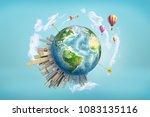 3d rendering of earth globe... | Shutterstock . vector #1083135116