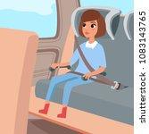 cute little girl sitting on the ... | Shutterstock .eps vector #1083143765