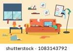 messy room flat illustration  | Shutterstock .eps vector #1083143792