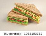 vegetable cheese sandwich fresh ... | Shutterstock . vector #1083153182