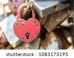 rusty heart. hinged lock in the ... | Shutterstock . vector #1083173195