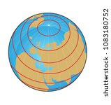 geographic coordinate system of ... | Shutterstock . vector #1083180752