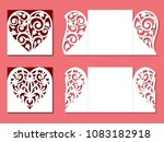 set of gate fold invitation... | Shutterstock .eps vector #1083182918