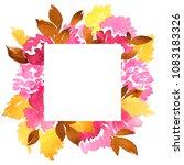 watercolor frame of dahlia... | Shutterstock . vector #1083183326