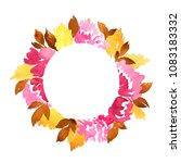 watercolor circle frame of... | Shutterstock . vector #1083183332