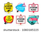 set of attention please. badge... | Shutterstock .eps vector #1083185225