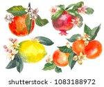 set of hand drawn watercolor... | Shutterstock . vector #1083188972