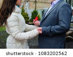 young man holding hands  ring... | Shutterstock . vector #1083202562