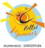hello summer. sun.sky. birds.... | Shutterstock .eps vector #1083209186