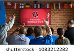 cheerful supporters watching...   Shutterstock . vector #1083212282