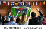 cheerful supporters watching... | Shutterstock . vector #1083212498