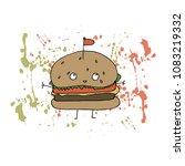 vector illustration. burger on...   Shutterstock .eps vector #1083219332