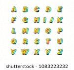 abstract retro 3d font... | Shutterstock .eps vector #1083223232