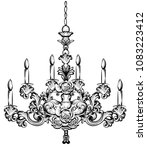 rich baroque chandelier. luxury ... | Shutterstock .eps vector #1083223412